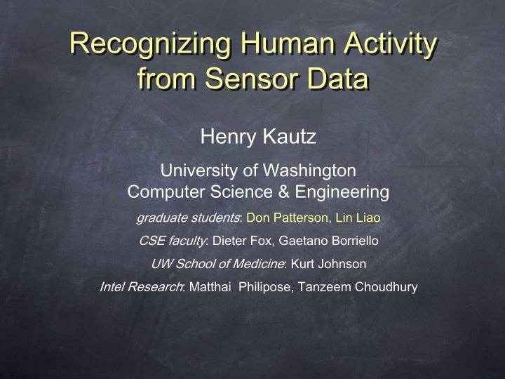 recognizing human activity from sensor data n.