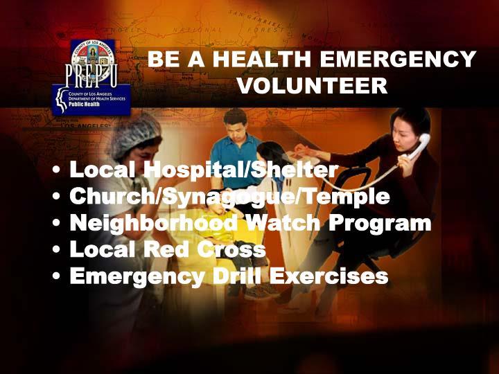 BE A HEALTH EMERGENCY VOLUNTEER