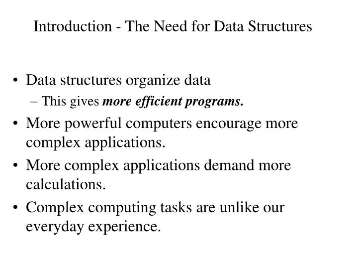 introduction the need for data structures n.