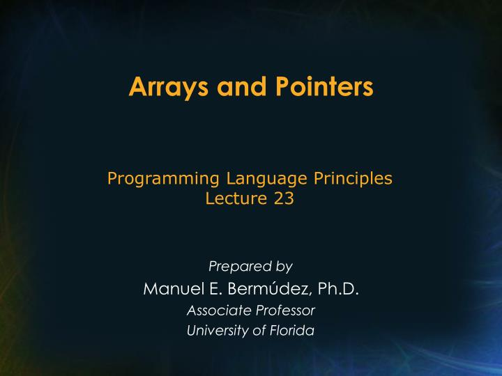 arrays and pointers n.