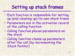 setting up stack frames