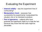 evaluating the experiment