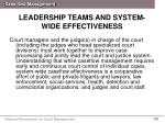 leadership teams and system wide effectiveness