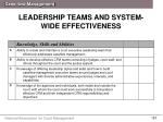 leadership teams and system wide effectiveness1
