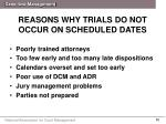 reasons why trials do not occur on scheduled dates