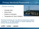 primary monitored parameters