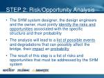 step 2 risk opportunity analysis