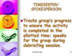 timekeeper spokesperson