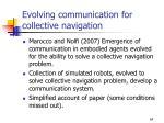 evolving communication for collective navigation