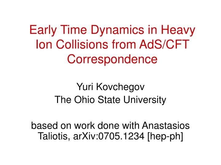early time dynamics in heavy ion collisions from ads cft correspondence n.