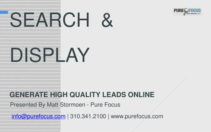 search display generate high quality leads online n.