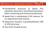 why focus on speed post business1