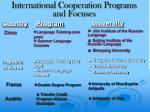 international cooperation programs and focuses