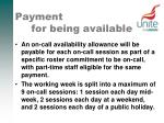 payment for being available