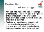 protection of earnings