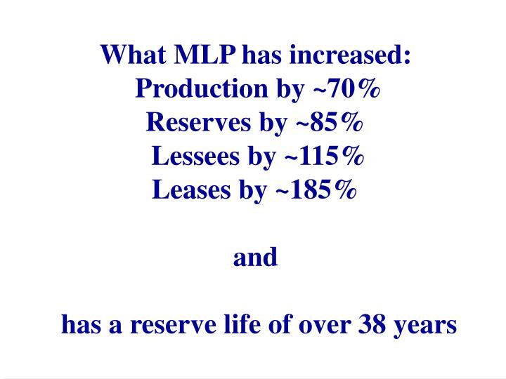 What MLP has increased: