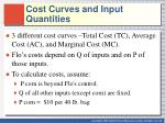 cost curves and input quantities