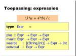 toepassing expressies