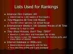 lists used for rankings