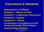 expectations standards