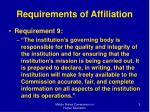 requirements of affiliation