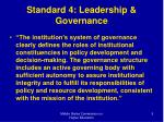 standard 4 leadership governance