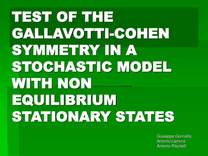 test of the gallavotti cohen symmetry in a stochastic model with non equilibrium stationary states n.