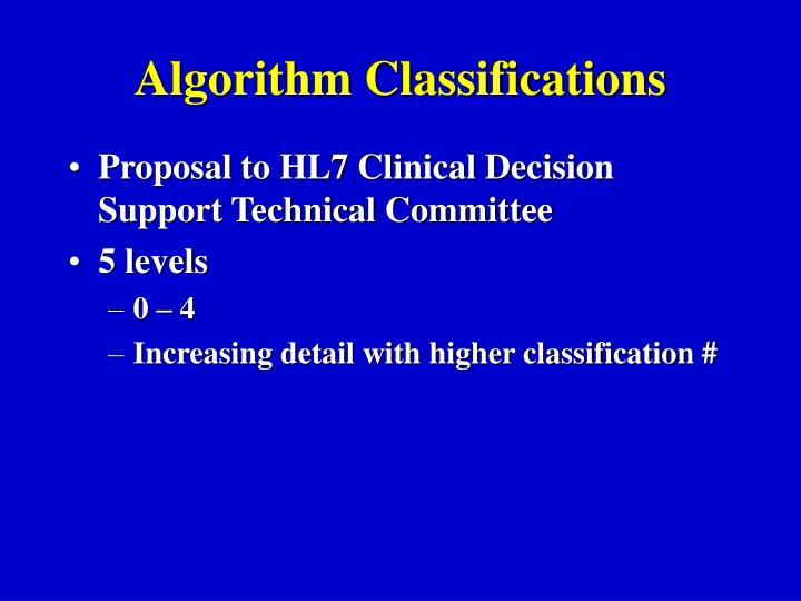 Algorithm Classifications