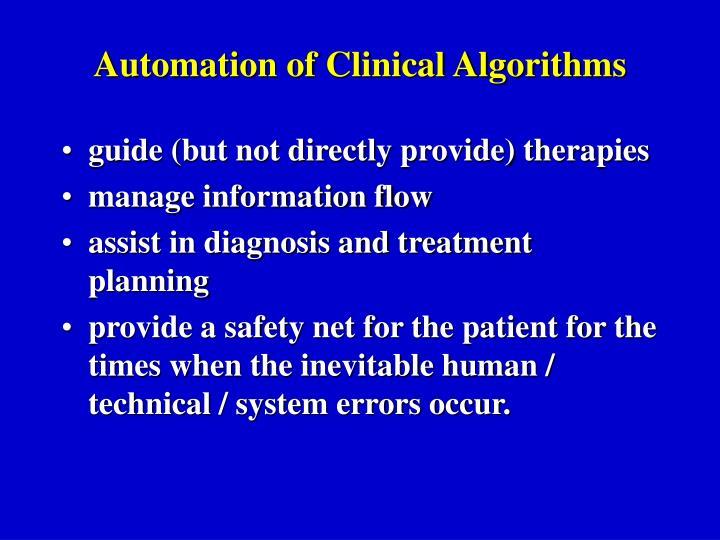 Automation of Clinical Algorithms