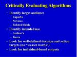 critically evaluating algorithms
