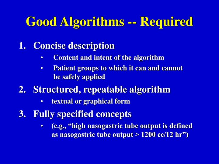 Good Algorithms -- Required