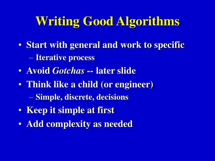 Writing Good Algorithms