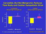 carvedilol but not metoprolol reduces total body and cardiac sympathetic drive