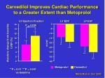carvedilol improves cardiac performance to a greater extent than metoprolol
