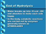 end of hydrolysis