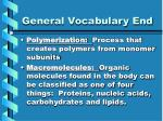 general vocabulary end