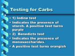testing for carbs