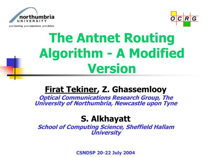 the antnet routing algorithm a modified version n.