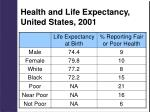 health and life expectancy united states 2001