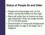 status of people 65 and older