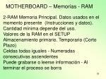 motherboard memorias ram