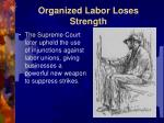 organized labor loses strength