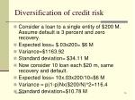 diversification of credit risk