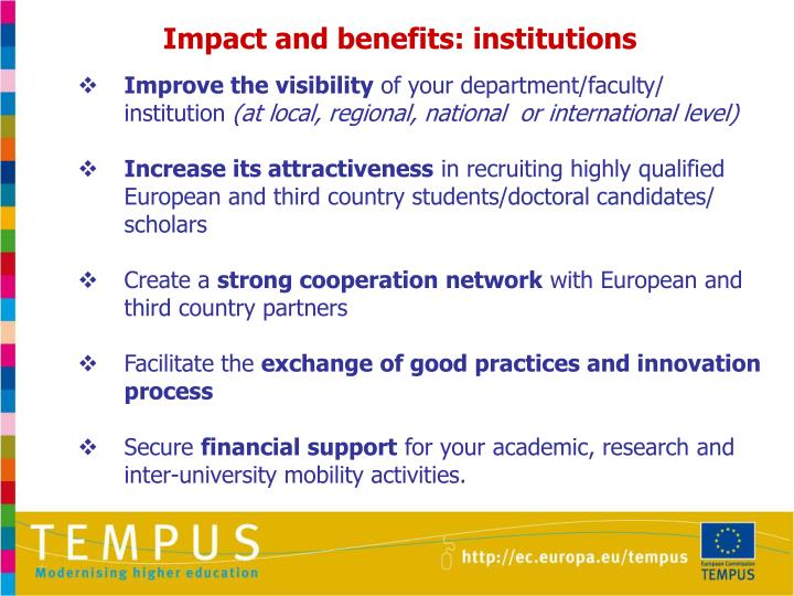 Impact and benefits: institutions