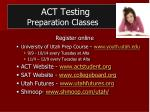 act testing preparation classes