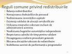 reguli comune privind redistribuirile
