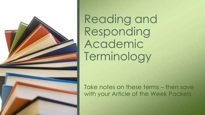 reading and responding academic terminology n.