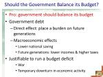should the government balance its budget