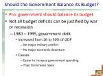 should the government balance its budget1