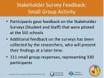 stakeholder survey feedback small group activity